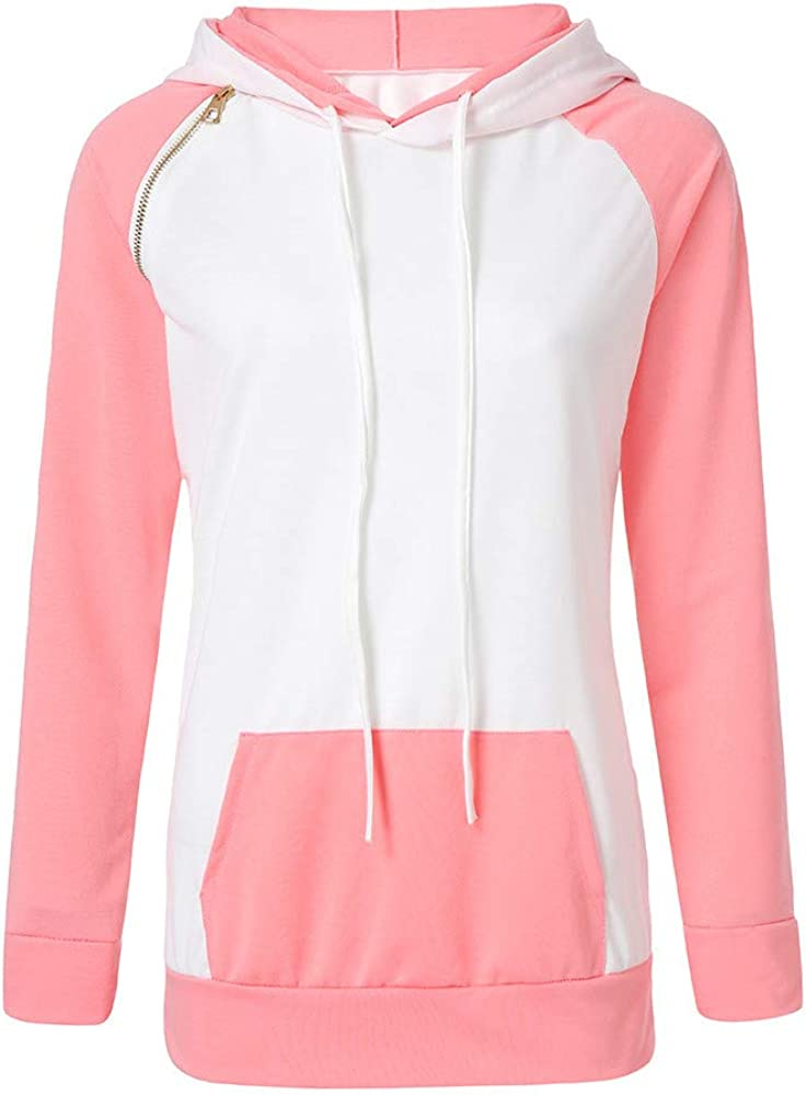 POTO Womens Pullover Hoodies Color Block Crop Tops Long Sleeve Sweatshirt with Pocket Tee Shirts Casual Tops Blouse