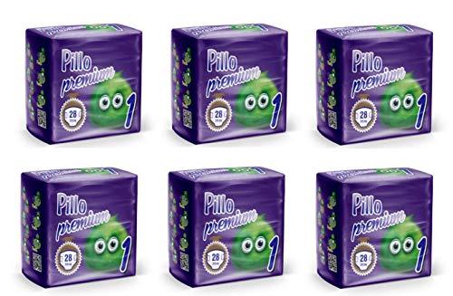 PILLO Premium New Born, Taglia 1 (2-5 Kg), 6 Pacchi da 28 (168 Pannolini Bimbo)