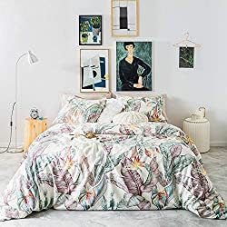 Susybao 3 piece duvet cover set Egyptian cotton botanical leaves print