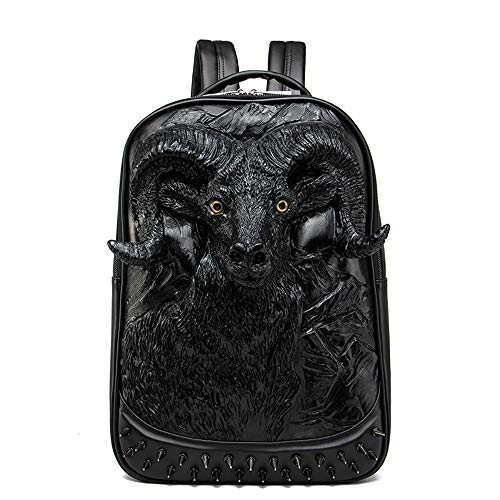 ZZBD Fashion 3D Creative Goat Head Pattern Backpack Personality Alternative Hip Hop Bag Laptop Backpack for Women Men,School College Backpack Fits 15 inch Notebook (Color : Black)