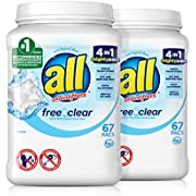 all Mighty Pacs Laundry Detergent, Free Clear for Sensitive Skin, 67 Count, 2 Tubs, 134 Total Loads