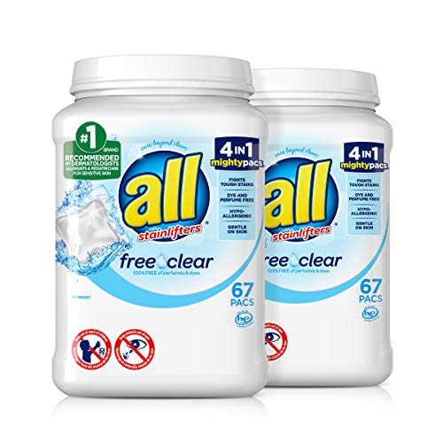 all Mighty Pacs Laundry Detergent, Free Clear for Sensitive Skin, 67 Count,...