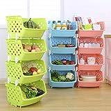 HJKGSVdv Creative Multifunctional Household Fruit Vegetable Baskets Fashion Kitchen Storage Plastic Food Basket Storage Shelf Green