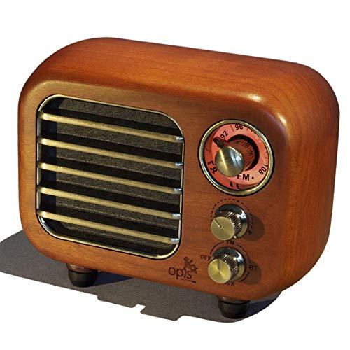 Opis Radio 3 – Pequeño Altavoz Retro de Madera con Bluetooth y Radio VHF (Cerezo)