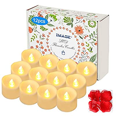 Flameless Flickering Timer Tealight Candles with Decorative Fake Rose Petals