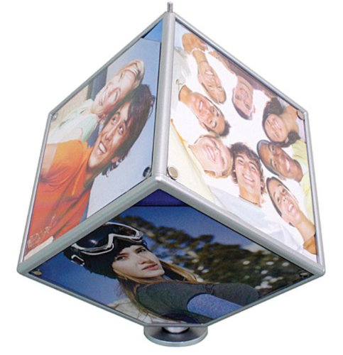 Magic Rotating Photo Cube Desk Revolving Multi Picture Frame