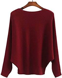 Women's Batwing Sleeves Cashmere Knitted Sweaters Winter Boat Neck Pullovers Tops.JNINTH