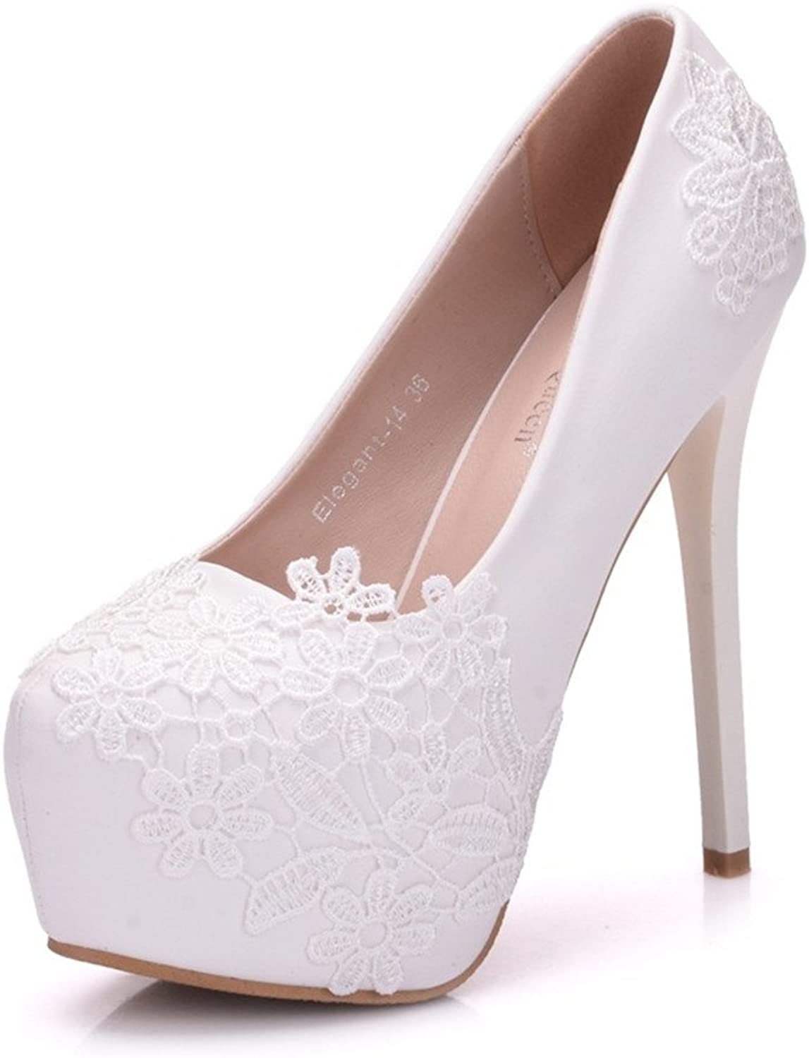 FORTUN Wedding Lace Stilettos Fashion Women's Platform shoes Round Head Closed Toe