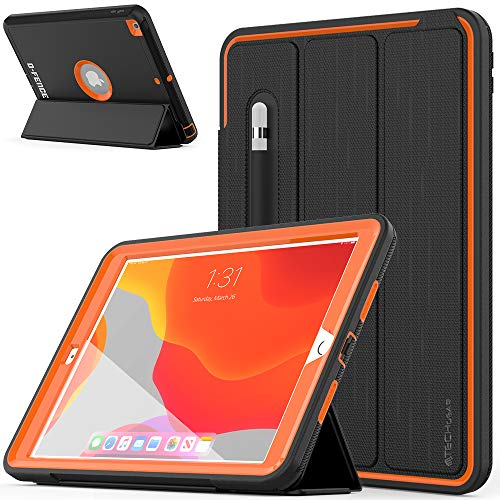 TECHGEAR D-FENCE Case Designed For Apple iPad 10.2' 2020/2019 8th / 7th Generation, Slimline Shockproof Tough Rugged Protective Armour Smart Case + Stand, Schools Builders Workman Kids Case [Orange]
