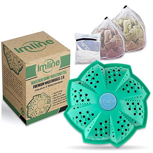 Vegan Öko Waschball 2.0 [Inkl. 3 Wäschenetze] mit verbesserter Wirkung für die Waschmaschine - Waschen ohne Waschmittel - Laborgeprüft & BPA-frei - Waschkugel Ideal für Allergiker und Babys