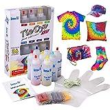 imoli Tie Dye Kit - Peintures textiles 8 couleurs vibrantes, Teinture permanente en une étape pour enfants, adultes et bricolage(Comprend 8 bouteilles de colorant et 8 paquets de colorant)