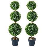 Garden mile Pair of 80cm Green Triple Topiary Tree