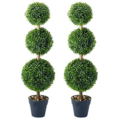 garden mile 2pc Green Triple Topiary Tree Artificial Plantation Garden Plants and Pots Artistic Round Ball Cut Garden Bush for Doorway Front Porch Decking FOR Restaurants Bars and Cafes