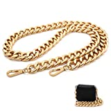 42'' Substantial Chunky Metal Cross-Body Chain Purse Strap Replacement for Mini Wallet,Waist Pack,Chest Bag (Antique Gold, Large)