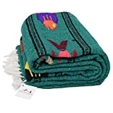 Thick Mexican Yoga Blanket Turquoise / Sea Green -- Serape Fish Design -- Handmade / Handwoven Genuine Mexican Style Blanket