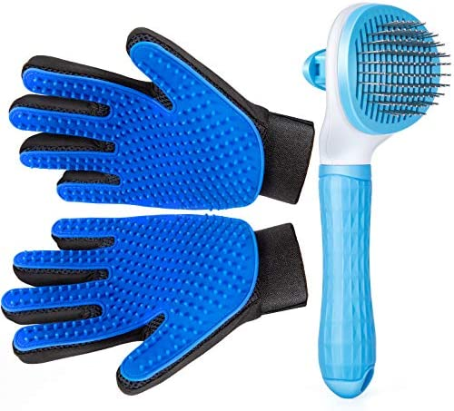 Pet Grooming Glove for Cat Dog nomoypet Gentle Deshedding Brush Glove with Self Cleaning Slicker product image