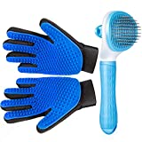 Pet Grooming Glove for Cat Dog, nomoypet Gentle Deshedding Brush Glove with Self Cleaning Slicker Brush, Efficient Pet Hair Remover Massage Mitt with Enhanced Five Finger Design Shedding Grooming Tool