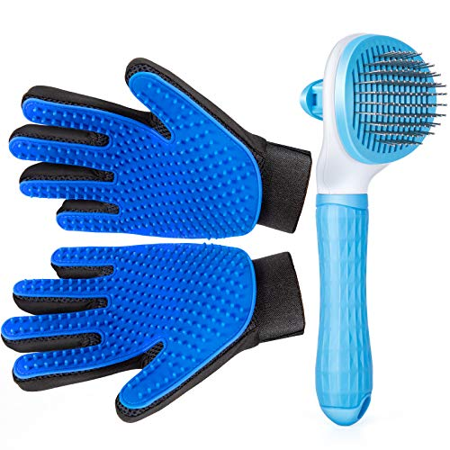 Pet Grooming Glove for Cat Dog nomoypet Gentle Deshedding Brush Glove with Self Cleaning Slicker Brush Efficient Pet Hair Remover Massage Mitt with Enhanced Five Finger Design Shedding Grooming Tool