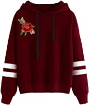 PERFURM autumn Womens Long Sleeve Hoodie Embroidered Applique Sweatshirt simple Hooded Pullover winter Tops Blouse