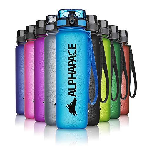 ALPHAPACE Trinkflasche, auslaufsichere 1.000 ml Wasserflasche, BPA-freie Flasche für Sport, Fahrrad & Outdooraktivitäten, Sportflasche mit Fruchteinsatz, in Blau