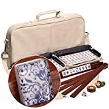 Yellow Mountain Imports American Mahjong Set, Chinoise with Soft Leatherette Case, Four Wooden All-in-One Racks with Pushers, Wind Indicator, Dice, and Wright Patterson Count Scoring Coins