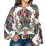 FENICAL Blusa de Mujer Camisa Estampado de Flores Manga Larg