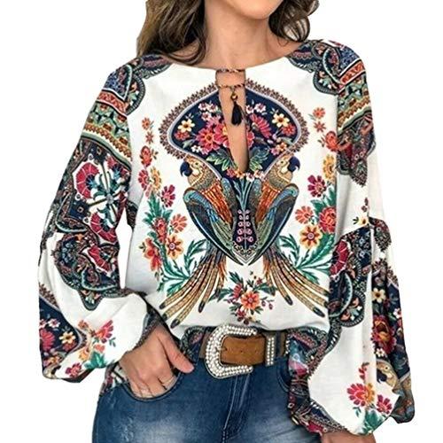 FENICAL Blusa de Mujer Camisa Estampado de Flores Manga Larga Cuello Redondo Blusa de Gasa Casual Camisa Tops Camiseta para Mujer Damas Talla XXL (Blanco)