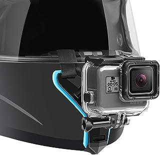 Motorcycle Helmet Chin Strap Mount Compatible with GoPro Hero 7, (2018), 6 5 4 3, Hero Black, Session, Xiaomi Yi, SJCAM (Blue)