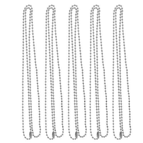 SM SunniMix Collar de Cadena de Bolas de Acero Inoxidable de 5 Piezas de 2 Mm para Hombres Y Mujeres - Plata, Individual