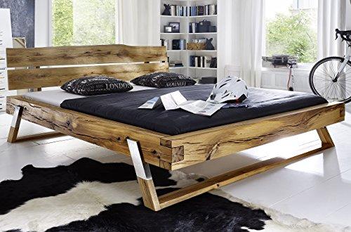 Main Möbel Balkenbett 'Carina' für einen erholsamen Schlaf 140x200cm Wildeiche geölt