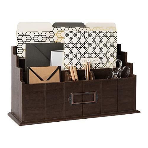 Blu Monaco Brown Wooden Mail Organizer - 3 Tier Brown Desk Organizer - Rustic Country Mail Sorter - Kitchen Countertop Organizer Mail Basket