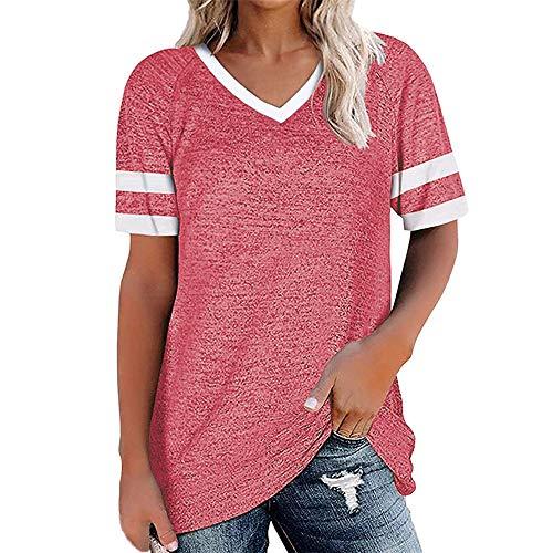 PRJN Camisetas de Manga Corta para Mujer Jerséis de Mujer Tops de béisbol Jersey de Rayas con Cuello Redondo Camiseta de béisbol para Mujer Camiseta de Manga Corta con Cuello Redondo Blusa Suelta