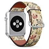 Compatible with Apple Watch (Small 38mm/40mm) Series 1,2,3,4 - Leather Band Bracelet Strap Wristband Replacement - Multicolored Indian Elephants