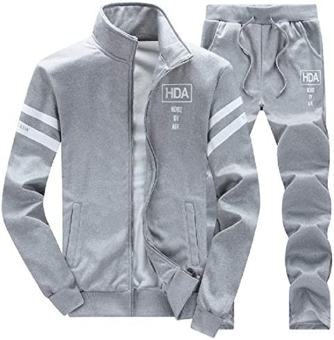 JYZJ Men s Fall Winter Gym Workout Set 2 Pieces Outfits Sweatsuits Printed Tracksuits Grey XL product image