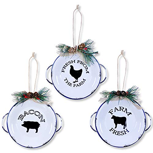 Farm Fresh Christmas Tree Ornaments, Large 6' Rustic Milk Cow Pig Chicken