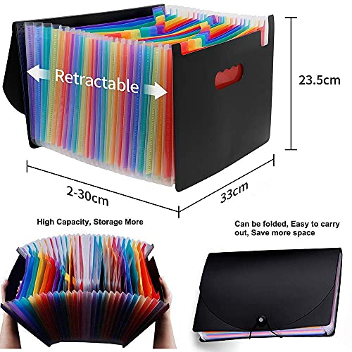 24 Pockets Expanding File Folder,Accordion File Organizer with Expandable Cover,Portable A4 Letter Size File Box,High Capacity Plastic Colored Paper Document Receipt Organizer Filing Folder Organizer Photo #5