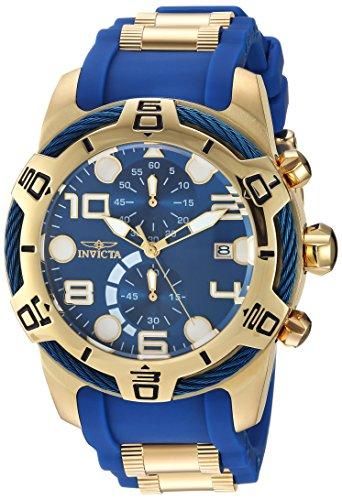 Invicta Men's 'Bolt' Quartz Gold-Tone and Polyurethane Casual Watch, Color:Two Tone (Model: 24217)