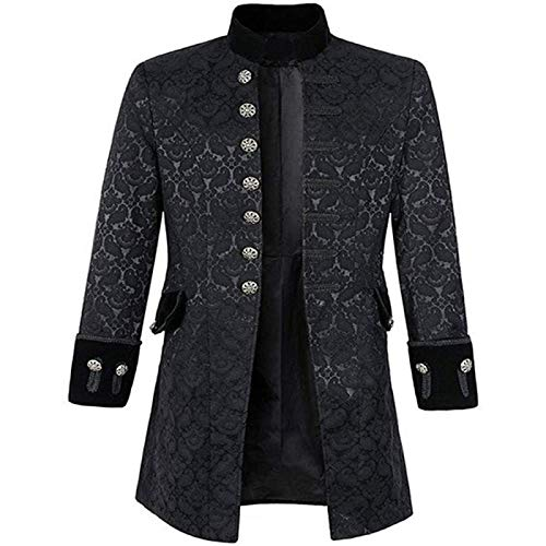 Song Chaqueta Medieval Victoriana Steampunk para Hombre, Disfraz de Pirata, Abrigo de FRAC Formal Vikingo, Chaqueta Larga Gótica,Xxlarge