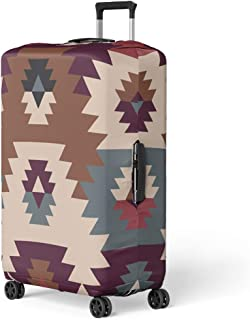 Pinbeam Luggage Cover American Prairie Pattern Abstract Ethnic Tribal Native the Travel Suitcase Cover Protector Baggage Case Fits 18-22 inches