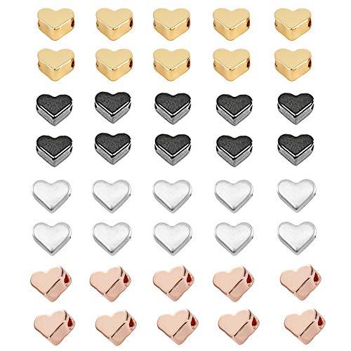Zasiene Metallperlen Herz 40 Stück Herzperlen Schmuckverbinder Bastel Zubehör Horizontalem Reihloch für Halskette Armband Schmuck Basteln,4 Farben