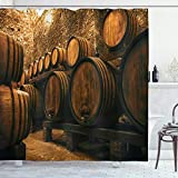 Ambesonne Winery Shower Curtain, Barrels for Storage of Wine Italy Oak Container in Cold Dark Underground...