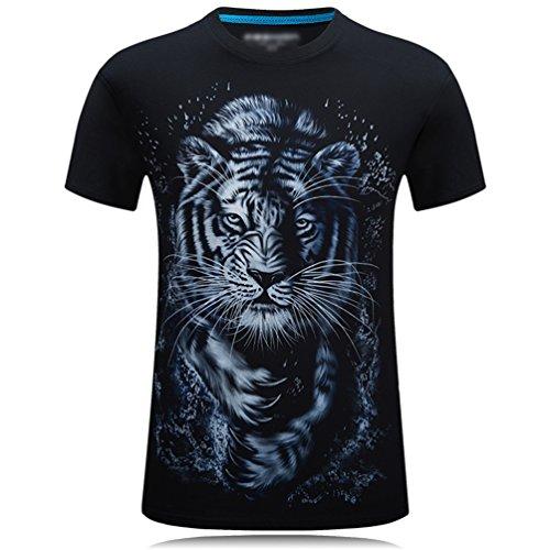 Cayuan Hombre Manga Corta Tops Verano O Cuello Camisetas 3D Tigre Animal Impresora Adolescente Divertida T-Shirts Negro