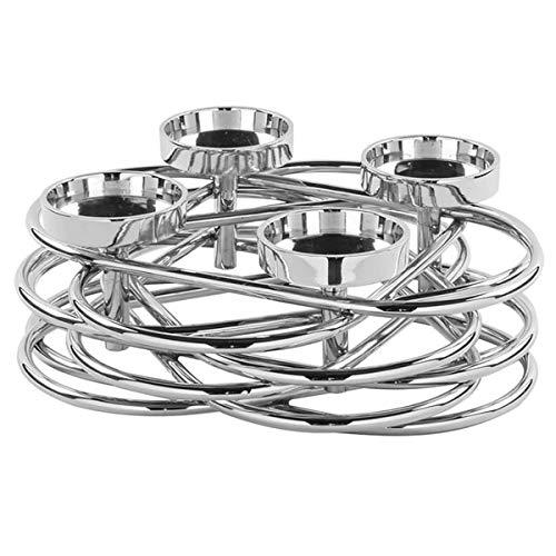 Fink - Adventskranz - Adventsleuchter - Kerzenleuchter - Duplex - Metall, vernickelt - Maße (ØxH): 35 x 11 cm