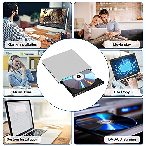 Unidad Externa de DVD BLU-Ray,BLU Ray 3D Grabadora DVD Reproductor Externo Portatil USB 3.0 Type-C Grabadora de Lector de CD DVD Disco para Windows 10 7 8 Vista XP Mac OS Linux(Plata)