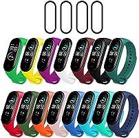 Milomdoi [19 Articulos] 15 Colors Correas + 4 Unidades TPU Protector Pantalla para Xiaomi Mi Band 5, Silicona Correa de...