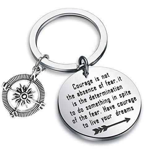 FEELMEM Graduation Gifts Courage Is Not The Absence of Fear It Is The Determination To Do Sth In Spite of The Fear Keychain with Compass Charm New Adventure Gift (silver)