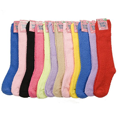 12 Pairs of Excellent Long Assorted Solid Colors Thick Fuzzy Slipper Socks,Size 9-11
