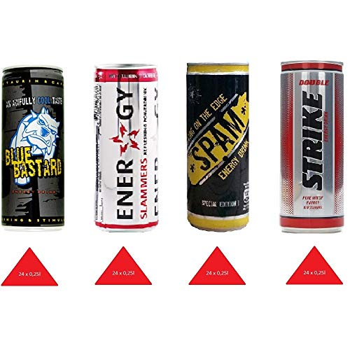 Energy Drink 96 Dosen XXL Paket ( 4 x 24 Einweg-Dosen ) Mixpaket 1( Blue bastard, slammers , strike,spam ) inkl. gratis FiveStar Kugelschreiber