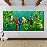 YHZSML Cuadros Coloridos Loros Pintura Animal Lienzo Pintura Arte de la Pared Impresiones para Sala de Estar Impresiones Decorativas Modernas Carteles 60X120CM