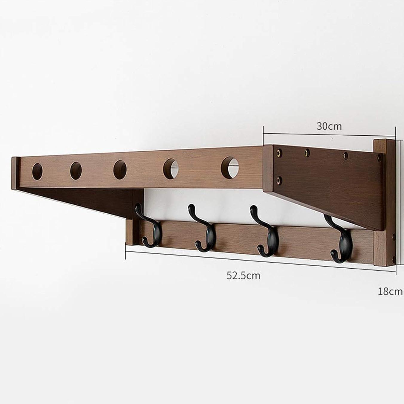 万歳徹底的にぴかぴかQFFL コートフック、廊下入り口寝室用リビングルームバスルームキッチン - 3色3サイズオプションの棚付き木製壁掛けコートラック コートラック (色 : ウォールナット, サイズ さいず : 4 hooks)